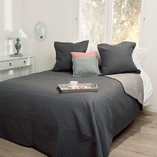 Ensemble Dessus de lit matelassé avec ses 2 Housses de coussin - Doux et chaleureux - Grande taille - Bicolore (Gris souris/Beige)