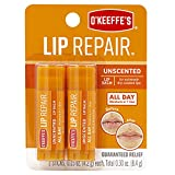 O'Keeffe's Unscented Lip Repair Lip Balm for Dry, Cracked Lips, Stick, Twin Pack