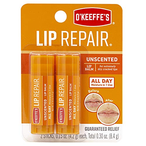 O'Keeffe's Unscented Lip Repair Lip Balm for Dry, Cracked Lips, Stick, Twin Pack, Clear, K0700432