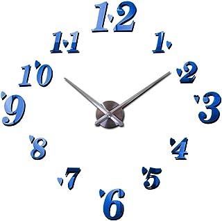 セイコー クロック 掛け時計 ウォールクロックDIY 3D現代の大きな壁の技術ステッカーデジタル装飾時計ホームオフィスのリビングルームの装飾(電池なし) 電波時計 (色 : 青)