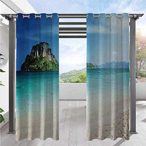 Print Outdoor Curtains Grand Cliff in the Crystal Sea Water Tropic Island Scenery with Summer Beach Home Fashion Window Panel Drapes for Patio Door Pergola Christmas Decoration Cream W120 x L108 Inch