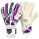 Renegade GK Fury UV2 Goalie Gloves with Pro-Tek Finger Spines | 4mm Giga Grip & 4mm Duratek | White, Purple, Silver, Black Soccer Goalkeeper Gloves (Size 7, Youth, Negative Cut, Level 4)