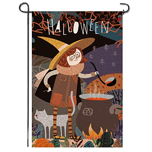 Shmbada Welcome Halloween Burlap Garden Flag, Double Sided Premium Material, Witch Decor Outdoor Fall Seasonal Banner Decorative Small Flags for Yard Lawn Patio Farmhouse, 12.5 x 18.5 inch