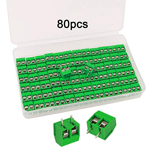 FULARR® 80Pcs Premium 2 Pin 5.08mm Pitch PCB Mount Screw Terminal Block Set, Leiterplatten Schraubklemmenblock Steckverbinder (160 / 300V — Grün)【MEHRWEG】