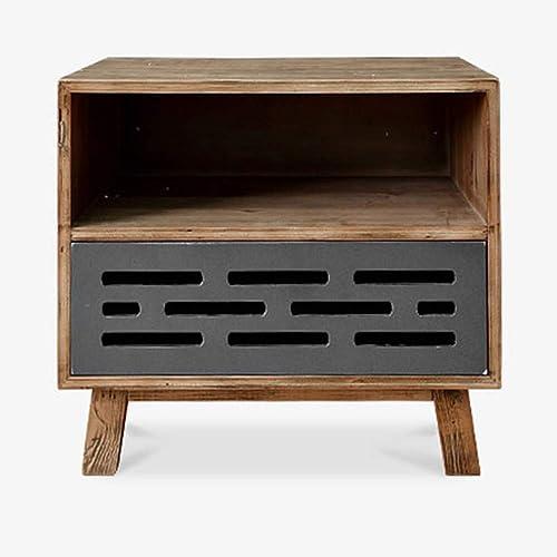 NAN Côté de tirage Simple en Bois Massif - Table de Chevet en Similicuir étude Chambre Double tiroir   W56  P39.5  H51.5cm