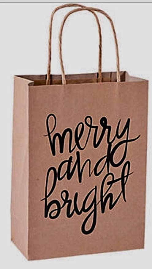 12 Christmas Gift Bags: Medium Kraft Paper Merry and Bright-6 1/2