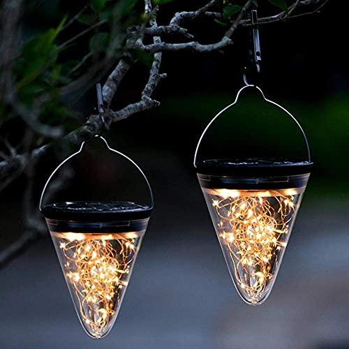 HAPPY-CARPET Nuevas Luces de jardín 2 Piezas 50 LED decoración Blanca cálida Luces Colgantes Lámparas solares Linterna Solar Exterior para Exteriores Lámpara de jardín Solar Impermeable