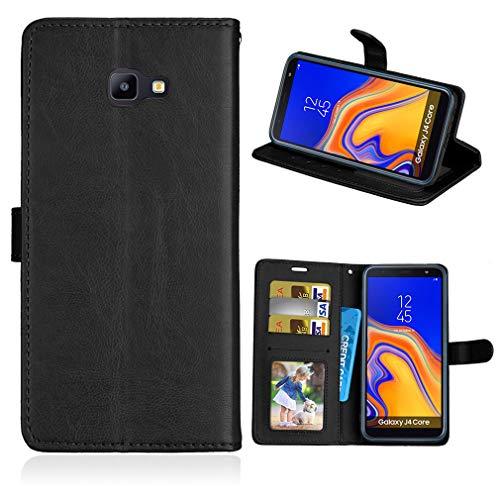 LMFULM® Hülle für Samsung Galaxy J4 Core/SM-J410F (6,0 Zoll) PU Leder Magnet Brieftasche Lederhülle Handyhülle Stent-Funktion Ledertasche Flip Cover für Galaxy J4 Core Einfaches Schwarz