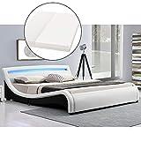ArtLife Polsterbett Malaga komplett mit Kaltschaum-Matratze, Lattenrost und LED Beleuchtung im Kopfteil   140 x 200 cm   weiß   Bett Jugendbett