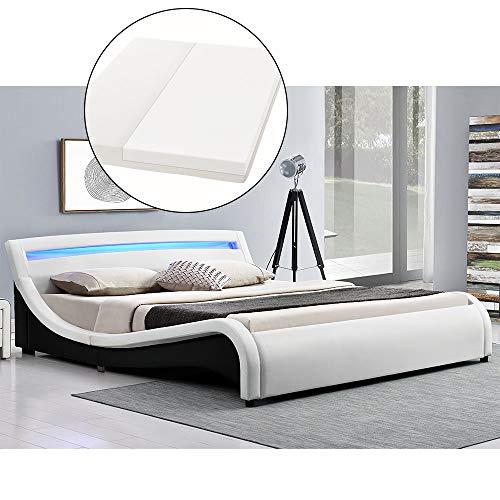 ArtLife Polsterbett Malaga komplett mit Kaltschaum-Matratze, Lattenrost und LED Beleuchtung im Kopfteil | 140 x 200 cm | weiß | Bett Jugendbett