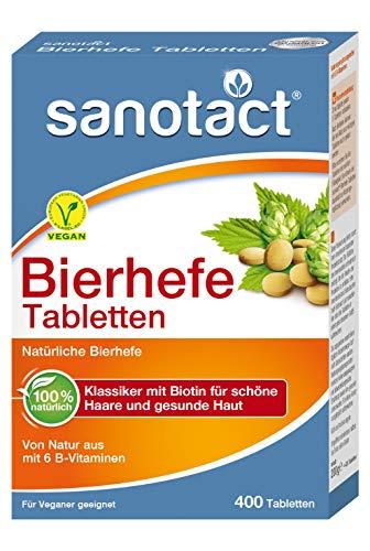 sanotact Bierhefe Tabletten - Nahrungsergänzungsmittel mit 6 B-Vitaminen, 400 Stück, 200 g