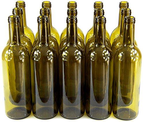 MADE IN ITALY 15 STK. 750ml Weinflasche Olivgrün Leere Glasflasche Likör Wein mit Korken neu