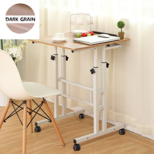 SDADI 2 Inches Carpet Wheels Mobile Standing Desk Stand Up Desk Height Adjustable Home Office Desk with Standing and Seating 2 Modes 3.0 Edition, Dark Grain S001WFDT