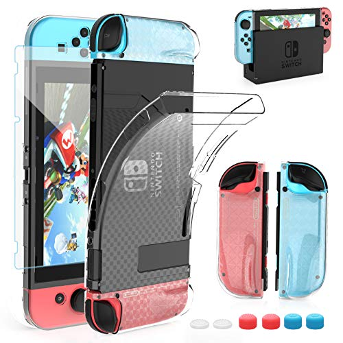 HEYSTOP Case Compatible with Nintendo Switch, Dockable Soft TPU Protective Case Cover for Nintendo Switch with Switch Tempered Glass Screen Protector and 6 Thumb Grip Caps