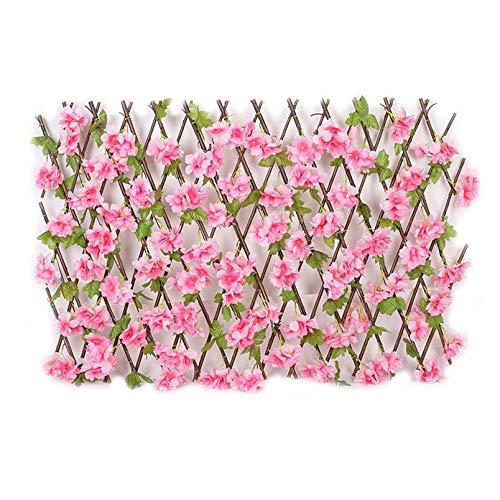 Valla retráctil de privacidad de hojas artificiales con flores, paneles de valla de enrejado expandibles para patio trasero, color rojo rosa, M