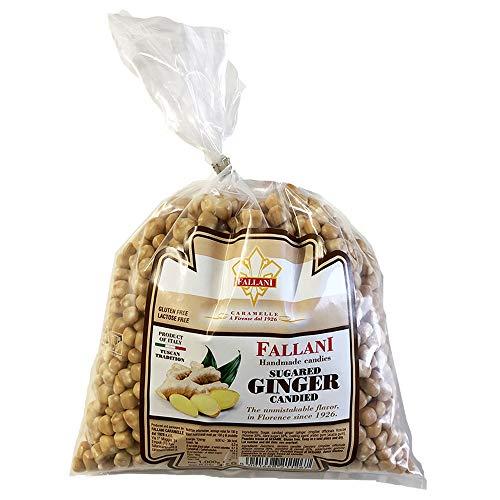 CARAMELOS FALLANI | Caramelo de jengibre confitado | de la tradición italiana Caramella, natural y orgánica | Suelto en bolsa de 1 kg. Sin gluten