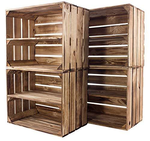 Kontorei® gebrannte/flambierte Obstkiste mit Zwischenboden 50cm x 40cm x 30cm 4er Set Regal Holzregal Kiste Box