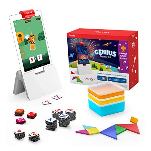 Osmo - Genius Starter Kit for Fire Tablet + Family Game Night - 7 Educational Learning Games for Spelling, Math & more - Ages 6-10 - STEM Toy (Osmo Fire Tablet Base Included - Amazon Exclusive)