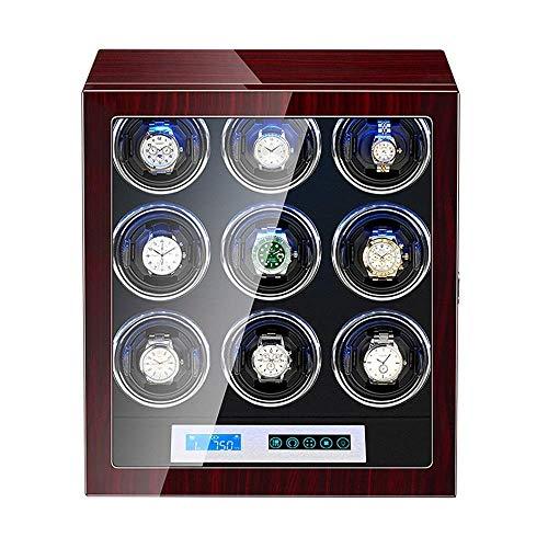 GLXLSBZ Caja enrolladora de Reloj para 9 Relojes automáticos Pantalla táctil Luz LED incorporada Pintura de Piano Motor silencioso Exterior