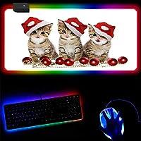 ゲーミングマウスパッド クリスマス猫ゲームRGBマウスパッドゲーマー大型XxlマウスパッドLED照明USBキーボードカラフルなデスクマウスマットPCラップトップデスクトップ-30x90x0.4cm
