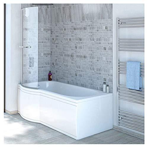 Badewanne SKALI 167,5cm Links + Duschkabine + Wannenschürze + Ablaufgarnitur + Wannenfüße