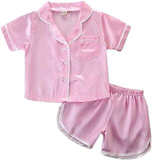 Weixinbuy Baby Girls Satin Silk Pajamas Set Short Sleeve T-Shirt Top + Elastic Waist Shorts Sleepwear Clothes Set