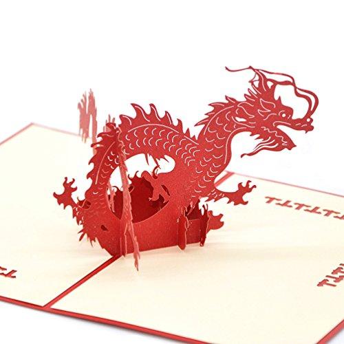 Medigy 3D-Pop-Up-Grußkarte für die meisten Anlässe, dreidimensional, der chinesische Drache