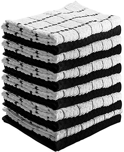 Kitchen Towels 12 Pack - Dish Towels and Dish Cloths - Hand Towel and Dishcloths Sets - 100% Soft Ring Spun Combed Cotton - Great for Cooking in Kitchen or Household Cleaning - Size 15' x 25' (Black)