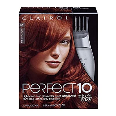 Clairol Nice'n Easy Perfect 10 Permanent Hair Color, 6R Light Auburn, Pack of 1