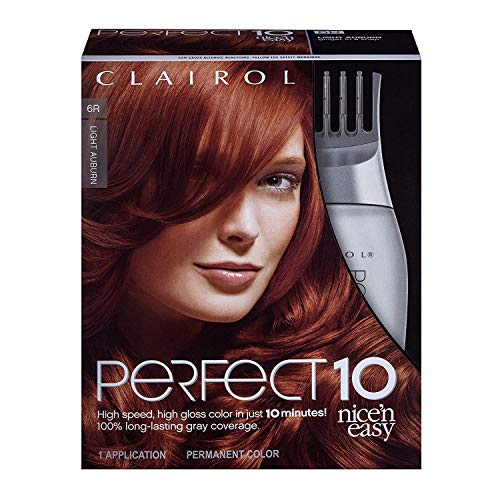 Clairol Nice'n Easy Perfect 10 Permanent Hair Color, 6R Light Auburn, Pack of 1 (Packaging May Vary)
