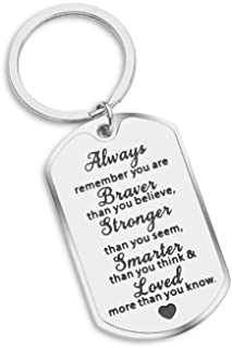 Always Remember You are Braver Than You Believe Inspirational Gift for Teenages Boys Girls Friends Student Graduation Keychain Women Men AA Recover Key Ring
