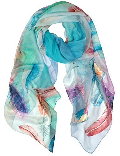 Dahlia Women's 100% Long Sheer Silk Scarf - Colorful Flying Feathers