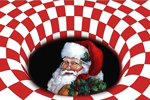 Weihnachten 3D Vortex Illusionsbereich Teppichbodenmatte, ultra-haltbarer Teppich-Teppich, rutschfeste Bodenmatte für Eingangs-Schlafzimmer Wohnzimmer Weihnachtsdekoration-D 31x79inch (80x200cm), C, 3