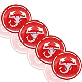 XINRUIBO 4pcs 56mm Scorpion Logo Car Emblem Apply to Wheel Center Hub Cap Auto Rim Refit Badge Decoration Cover Sticker for Fiat Abarth Centre Wheel caps (Color : Red)