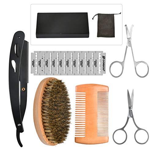 YANSHON Bartpflege Set Für Männer, Bartkamm (Birnbaumholz)+ Bartschere Eine Nasenhaarschere Rasiermesser + 10 Doppelklingen- Das Beauty Geschenk Set Für Männer (Schwarz)