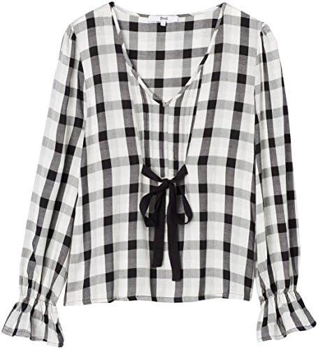 Marca Amazon - find. Blusa de Cuadros con Lazada para Mujer