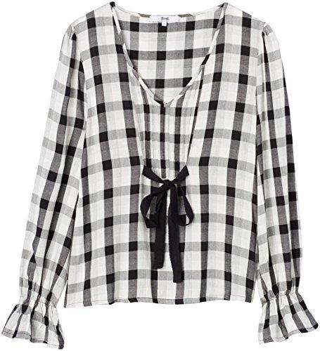 Marca Amazon - find. Blusa de Cuadros con Lazada para Mujer, Multicolor (Black Mix), 36, Label: XS