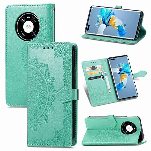 LMFULM® Hülle für Huawei Mate 40 Pro (6,76 Zoll) PU Leder Magnet Brieftasche Lederhülle Mandala Prägung Design Stent-Funktion Ledertasche Flip Cover Grün