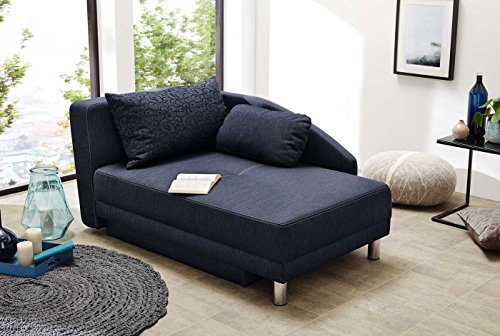 lifestyle4living Recamiere mit Schlaffunktion & Bettkasten in blau, Webstoff | Das Schlafsofa lädt mit Einer Liegefläche 84 x 200 cm und 2 Kissen zum Verweilen EIN