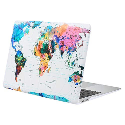 MOSISO MacBook Air 13 Inch Case 2020 2019 2018 Release A2337 M1 A2179 A1932, Plastic Pattern Hard Case Shell Only Compatible with MacBook Air 13 with Touch ID, World Map