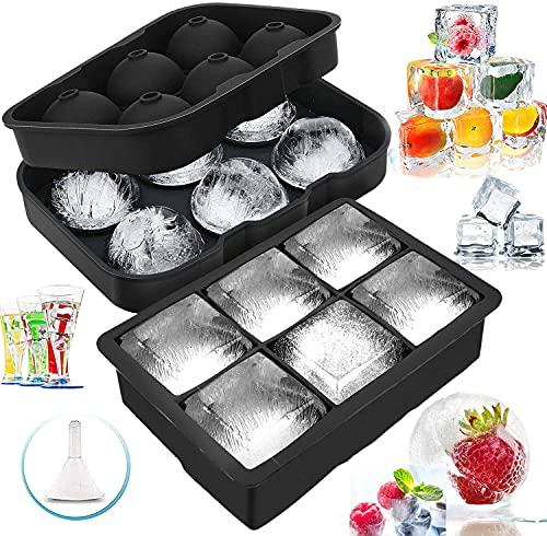 YADIMI creatore di sfere di ghiaccio,Set di 2 Stampi per Cubetti Ghiaccio In, per Ghiaccio per congelatore, Whisky, Cocktail e Altre Bevande, per Cubetti di Ghiaccio, Nero