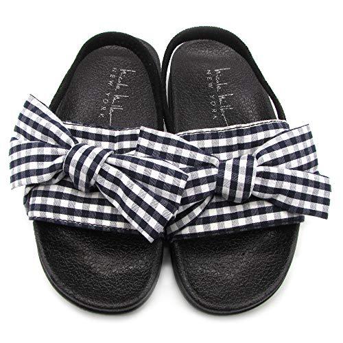 Nicole Miller New York Toddler and Little Girls Denim Artwork Slide Sandals - Size 6, Black and White Bow