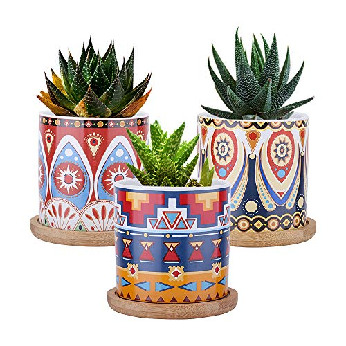 Lewondr Keramik Sukkulenten Töpfe, 3 Stück 7cm Kaktus Pflanze Töpfe Mini Blumentöpfe Set mit Bambus Untersetzer, Dekorationen - Bunt Kaleidoskop Serie 01, Rot