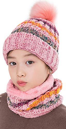 LCZTN Kids Winter Pom Beanie Hat Scarf Set for 5-14 Year Girls Warm Knitted Fleece Lining Slouchy Skull Cap (Pink)