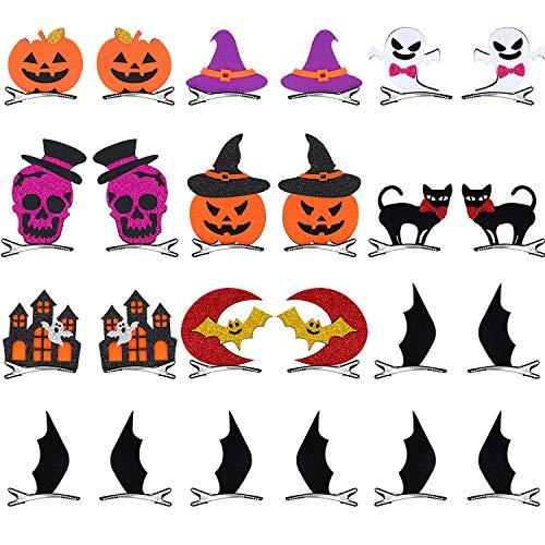 24 Pieces Halloween Cartoon Hair Clips Bat Pumpkin Ghost Cat Hat Design Hair Pins Hair Accessories Costume Props for Halloween Party Supplies (9 Patterns)