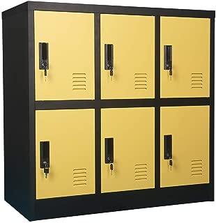 Small Office Storage Locker Cabinet Organizer for Employee,School Locker for Kids Mini Size (Yellow, W6D)