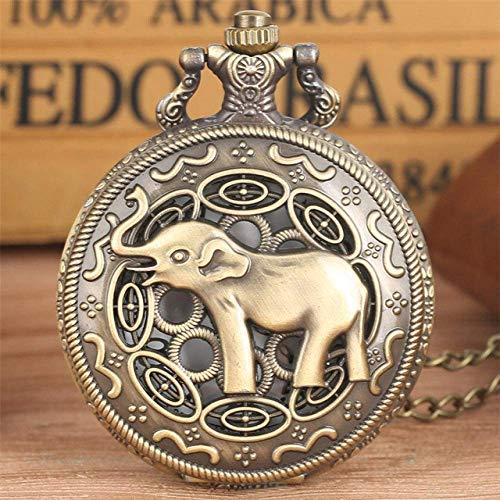 LYMUP Reloj de Bolsillo Bronce Retro Hueco asiático Elefante diseño de Cuarzo Reloj de Bolsillo Hombres Mujeres Collar Vintage joyería Colgante Reloj Regalos nuevos,Vapor (Color : Only Watch)