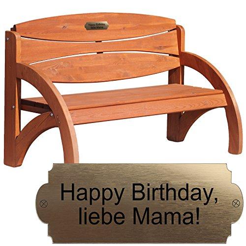 Geschenke 24 Gravierte Geburtstagsbank mit Lehne Kirsche - Gartenbank für Männer und Frauen mit Wunschtext personalisiert – persönliches Geburtstagsgeschenk
