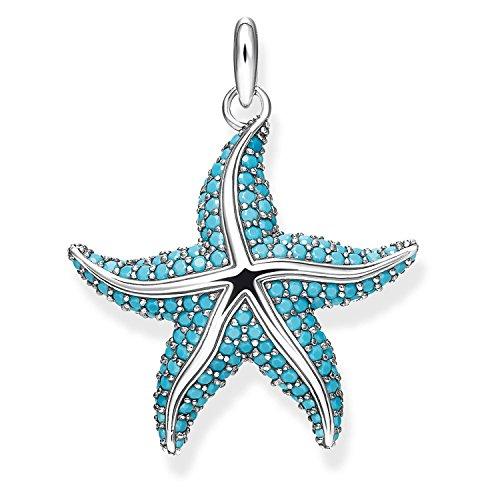 THOMAS SABO - Colgante de Mujer Estrella de Mar, Plata de Ley 925, Azul