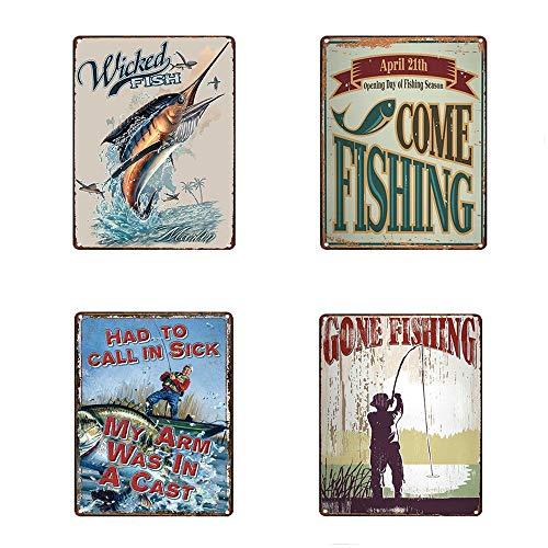 "Mega-Deal 4Pcs Lure Fishing Antique Tin Signs, Vintage Man Cave Retro Posters For Bar Pub Lure Shop Wall Decor 12"" x 8"""